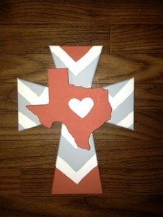 Deep in the Heart of Texas Chevron Cross. $35.00, via Etsy.