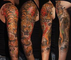 Chronic Ink Tattoo,   Toronto Tattoo.                          - Tiger and koi fish finished piece by Tony Hu