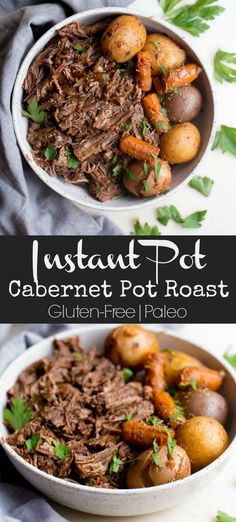 This Instant Pot Cabernet Pot Roast with Potatoes and Carrots is a complete meal with a delicious red wine gravy and just what you need on a chilly evening. Paleo Menu, Paleo Recipes Easy, Game Recipes, Gluten Free Recipes Instant Pot, Celiac Recipes, Health Recipes, Cookbook Recipes, Sweets Recipes, Paleo Diet