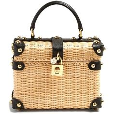 Dolce & Gabbana Leather-trimmed wicker basket bag (229.490 RUB) ❤ liked on Polyvore featuring bags, handbags, cream multi, floral print handbags, dolce gabbana handbags, print handbags, flower purse and flower print handbags