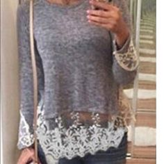 Dark gray/charcoal lace detail top- could fit S This is one of my most adorable tops I've gotten in - it's not as light gray as the last pic but still so cute !!! The lace detail is absolutely gorgeous! (I kept one for me - so cute) Tops Blouses