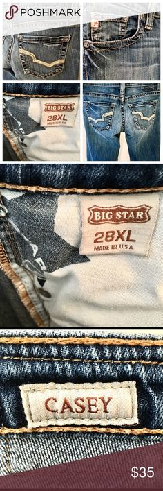 """Big Star Women's """"Casey"""" jeans Sz 28 XL Inseam 34 Big Star Women's Jeans   """"Casey"""" style Size 28 XL  Inseam 34"""" Outseam 41"""" Rise 7.5"""" Hips 18"""" Leg opening 9"""" All measurements are take laying flat.  99% cotton 1% spandex Please note, there is a small hole in front of right Pants leg which can be seen in photos. Slight fraying of hems. Big Star Jeans Boot Cut"""