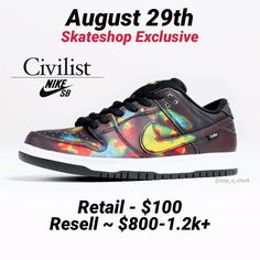 "Cop o'Clock (@cop_o_clock) hat ein Foto auf seinem/ihrem Instagram-Konto veröffentlicht: ""Civilist/Nike SB Dunk Low Retail - $100 Resell ~ $800-1.2k+ Releasing on August 29th exclusively at…"" Shoe Releases, Nike Sb, Sneakers Nike, Shoes, Instagram, Fashion, Photos, Nike Tennis, Moda"