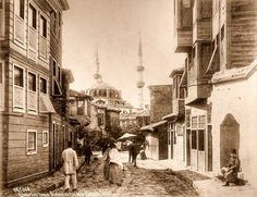 The turkish quarter in Scutari (Üsküdar) and the Mosque Validé Photograph by Sebah and Joaillier ca. 1900