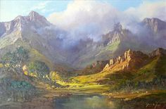 Alfred de Bréanski, Senior was a prominent landscape artist whose canvases depicted scenes from the Scottish highlands. Landscape Art, Landscape Paintings, Beautiful Paintings, Beautiful Landscapes, South Africa Art, South African Artists, Mountain Paintings, Artist Painting, Oeuvre D'art