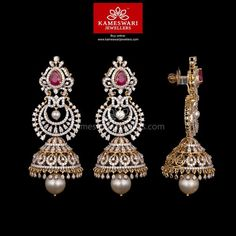 Mesmerizing collection of gold earrings from Kameswari Jewellers. Shop for designer gold earrings, traditional diamond earrings and bridal earrings collections online. Diamond Earrings Indian, 14k White Gold Earrings, Gold Diamond Earrings, Diamond Jewelry, Aquamarine Jewelry, Emerald Necklace, Silver Rings, Diamond Jumkas, Diamond Studs