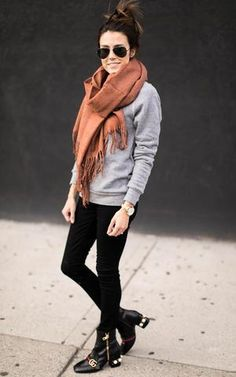 Love this scarf! Winter Outfits For Work, Fall Outfits, Casual Outfits, Scarf Outfits, Work Outfits, Ily Couture, Orange Scarf, Autumn Winter Fashion, Fashion Fall