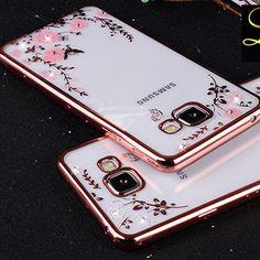 Fleur Bling Diamant Cas Pour Samsung Galaxy S6 A5 A7 A8 A9 J5 J7 2015 2016 N3 4 5 Souple TPU Effacer Tansparent Phone Housse