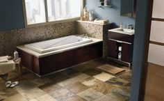 Natural Stone is a great option for bathroom floors!
