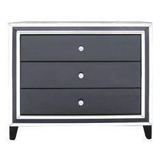 ACHICA | Manhattan Mirror 3 Drawer Cabinet, Black/Clear