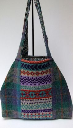 Harris tweed and fairisle slouchy bag in turquoise, mauve and cream £60.00