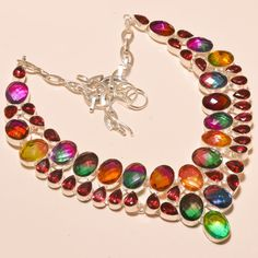 "MULTI TOURMALINE & FACETED PINK TOURMALINE - 925 SILVER JEWELRY NECKLACE 18""…"