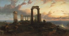 "laclefdescoeurs: ""Temple of Aphaea in Aegina, Greece, Harry John Johnson "" Los Angeles Temple, Temple Ruins, Environment Concept Art, Ancient Greece, Greek Mythology, Landscape Paintings, Oil Paintings, Decoration, Alice In Wonderland"