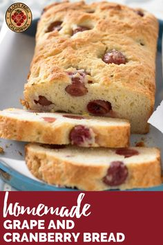 Here's a simple bread recipe for fall with no yeast featuring grapes from California and cranberries.  Good for breakfast or for a treat at night, this homemade bread is delicious topped with butter, or left as is.  #breakfast #simple #noyeast #butter #night #bakingrecipes #breadrecipeseasy #bread #breadrecipeshomemade #breadrecipes #breadbaking Easy Bread Recipes, Baking Recipes, Quick Bread, Breakfast Recipes, Dessert Recipes, Desserts, Homemade Tea, Cranberry Bread, Postres