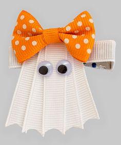 Look at this #zulilyfind! Lucky Cat Headwear Orange & White Ghost Bow Hair Clip by Lucky Cat Headwear #zulilyfinds