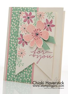 I know it's not September anymore but wanted to share this last card design from September: Blooms & Wishes stamp set; Blushing Bride, Sweet Sugarplum and Mint Macaron inkpads; Mint Macaron ribbon; R