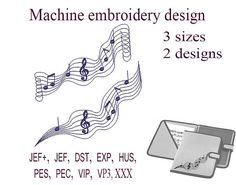 Machine embroidery designs music notes. treble clef