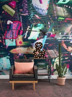 Lightshow is an urban style wall mural designed by Derek Prospero. Order your made-to-measure wallpaper online. Wallpaper Suppliers, Print Wallpaper, Wallpaper Ideas, Wallpaper Online, Bespoke Design, Fantasy World, Urban Art, Interior Styling, Vivid Colors
