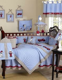 Blue and Red Boys Firetruck Baby Bedding - 9 Piece Crib Set by Sweet Jojo Designs