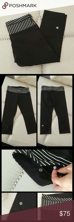 Lululemon Wunder Under Crop legging These are the classic wunder under crops in black with black and white waist design. Size 8, in great condition. Only worn a few times, only slight piling around the waist inside  (as photographed). Other than that no visible signs of wear. 19 inch inseam, about 5.75 leg opening.  NO TRADES lululemon athletica Pants Leggings
