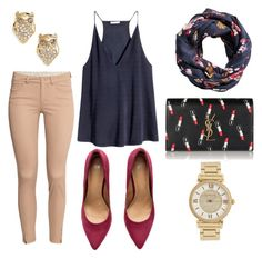 """""""Untitled #62"""" by alexaacastillo on Polyvore featuring H&M, Yves Saint Laurent, Michael Kors and Kate Spade"""