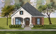 Find your dream southern style house plan such as Plan which is a 1459 sq ft, 3 bed, 2 bath home with 2 garage stalls from Monster House Plans. Cottage Style House Plans, Southern House Plans, Bungalow House Plans, Cottage Style Homes, Cottage Plan, Ranch House Plans, Cottage House, Farm House, Narrow Lot House Plans