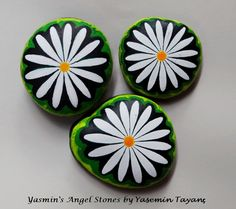 Hand Painted Stone – Set of three daisies