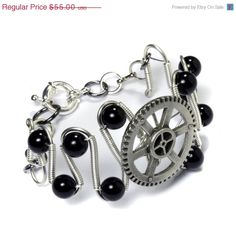 Steampunk Jewelry  Bracelet  Silver Gear and by CatherinetteRings, $36.85