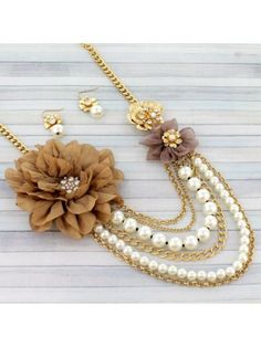 Mutli-Layer Goldtone and Ivory Pearls Flower Necklace and Earring Set
