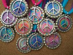 Tie Dye Peace Charm Bottle Cap Necklace