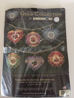 5765c8cef68 NEW Dimensions Gold Collection TIMELESS ELEGANCE ORNAMENTS Cross Stitch Kit  8706  Dimensions  Ornaments