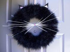 Cat Wreath, Halloween Cat Wreath, black cat wreath, Fall Wreath, Halloween…