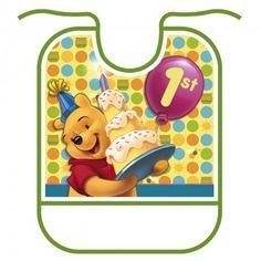 Pooh's First Birthday Bib - http://www.247babygifts.net/poohs-first-birthday-bib/