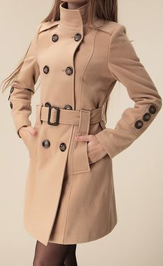 $26.34 Double-Breasted Fashionable Style Worsted Long Sleeves Coat For Women