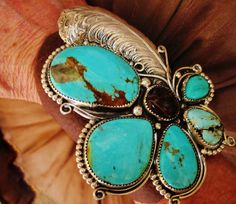 "NATIVE+AMERICAN+TURQUOISE+LEATHER+BRACELET,97gr+G.CHAVEZ+Sterling+Silver,4""+wide+#GLORIACHAVEZNAVAJO"