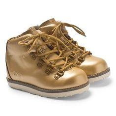 Akid Metallic Gold Leather Boots   AlexandAlexa