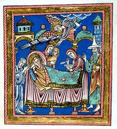 12th century German Nativity of Mary with Joseph wearing the Jewish hat.