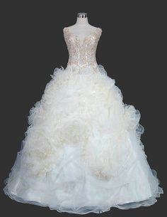 Tulle and Organza Ball Gown with Beaded Lace And Ruffled Skirt Style YSP7022
