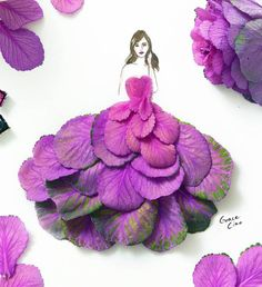 As belas ilustrações fashion com flores e plantas como vestidos femininos de Grace Ciao