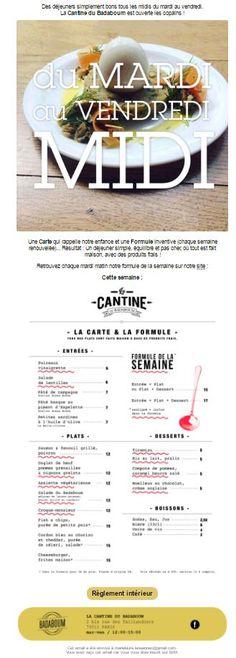 #Food #cantoche // Newsletter hebdo annonçant le menu de la Cantine du #Badaboum // #gold #red