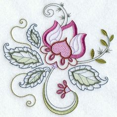 VINTAGE JACOBEAN FLOWER1  Machine Embroidered by AzEmbroideryBarn, $7.50