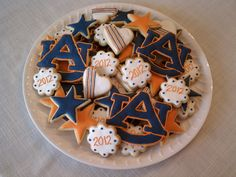 Auburn cookies (Jayne, I would totally order these from you if they could be shipped.  I saw you pinned Alabama cookies.  NOOOOO.)