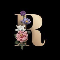 Floral letter r font Free Vector Floral Font, Floral Letters, Flower Wallpaper, Wallpaper Backgrounds, Alphabet Wallpaper, Letter R Iphone Wallpaper, Monogram Wallpaper, Poster S, Modern Business Cards