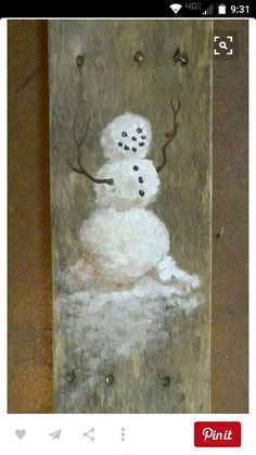Christmas DIY: Hand painted Whimsic Hand painted Whimsical Snowman with little Red by SchmaviesRefound Christmas Signs, Rustic Christmas, Christmas Art, Christmas Projects, Winter Christmas, Christmas Decorations, Christmas Ornaments, Snowman Crafts, Holiday Crafts