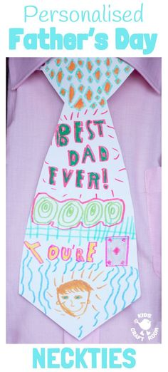 Personalised Neckties is a fun Father& Day Craft for children of all ages. Every Dad will love this Father& Day gift idea. Personalised Neckties is a fun Fathers Day Craft for children of all ages. Every Dad will love this Fathers Day gift idea. Diy Father's Day Gifts Easy, Great Father's Day Gifts, Father's Day Diy, Diy Gifts, Fathers Day Art, Easy Fathers Day Craft, Fathers Day Gifts, Diy For Kids, Gifts For Kids