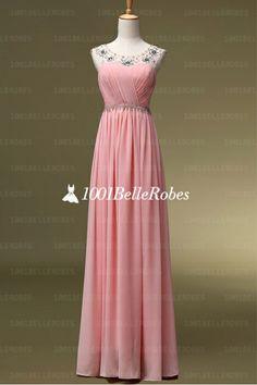 4a18a54a8b6 robe de soirée pas chère en mousseline rose pâle soigneusement plissé au  buste