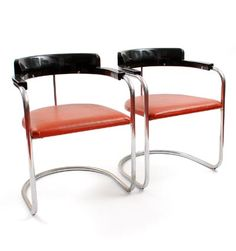 Tube chairs Model J-2 2x with wooden back and upholstered seat design Jan Schröfer ca.1935 execution de Cirkel