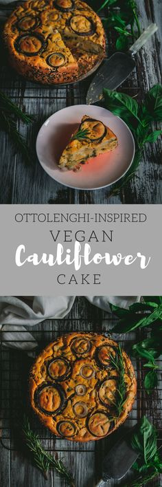 A vegan version of Ottolenghi's famous savoury cauliflower cake - the perfect picnic or brunch food!
