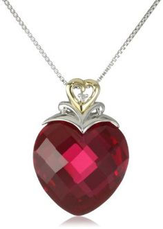 """XPY Sterling Silver and 14k Yellow Gold Created Ruby Heart and Diamond Accent Pendant Necklace, 18"""", diamond heart pendant necklace"""