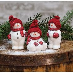Snowman At Play Set of 3 figurines. Winter and Christmas home decor.